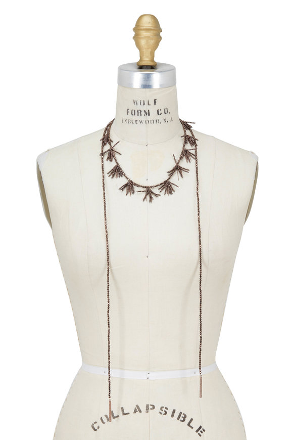 Brunello Cucinelli Ematite Fringe Dangle Wrap Convertible Necklace