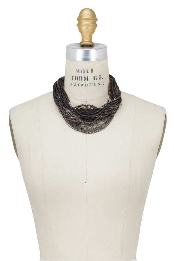 Brunello Cucinelli Metallic Leather & Monili Multi Strand Necklace