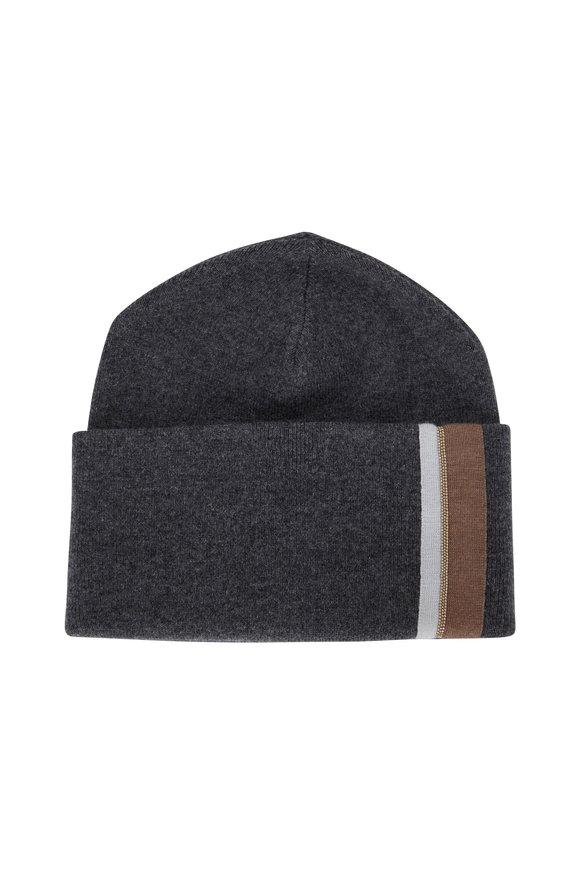 Brunello Cucinelli Charcoal Gray Cashmere Monili Trim Hat