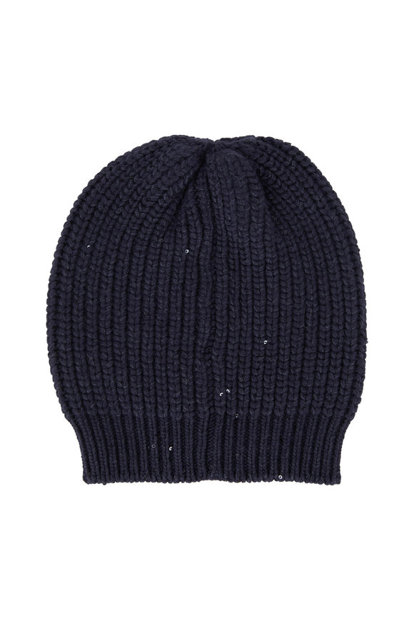 Brunello Cucinelli Midnight English Ribbed Pailette Beanie