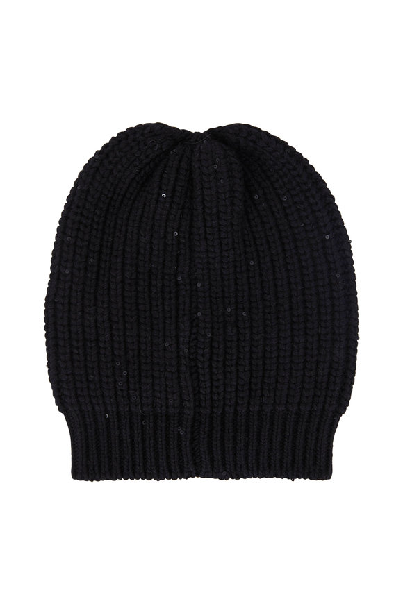 Brunello Cucinelli Black English Ribbed Pialette Beanie