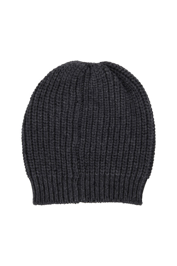 Brunello Cucinelli Charcoal Gray English Ribbed Pailette Beanie