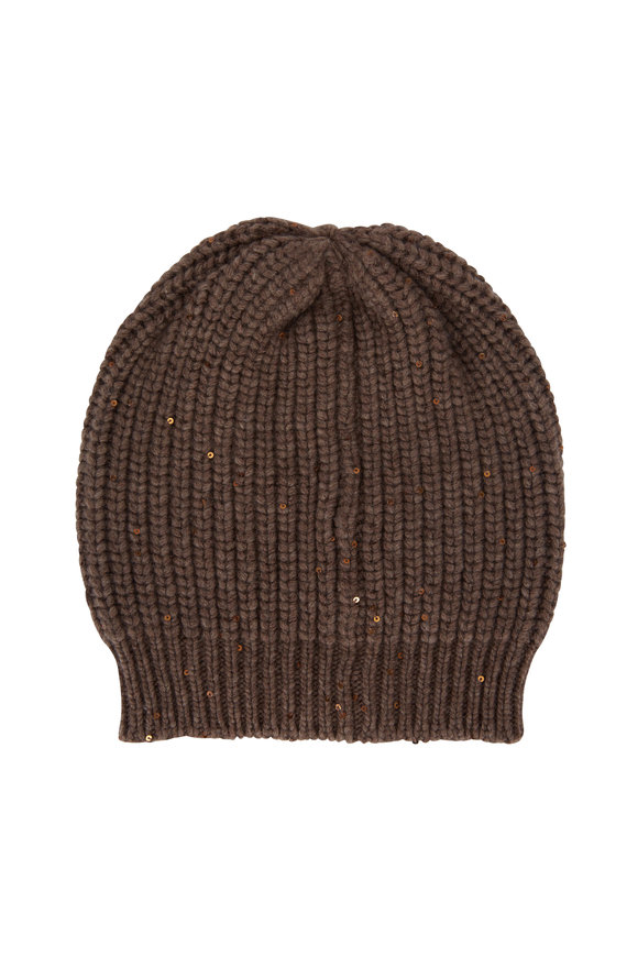 Brunello Cucinelli Fango English Ribbed Pailette Beanie
