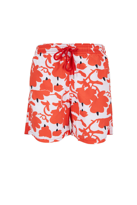 Vilebrequin Moorea Red Donald Sultan Printed Swim Trunks