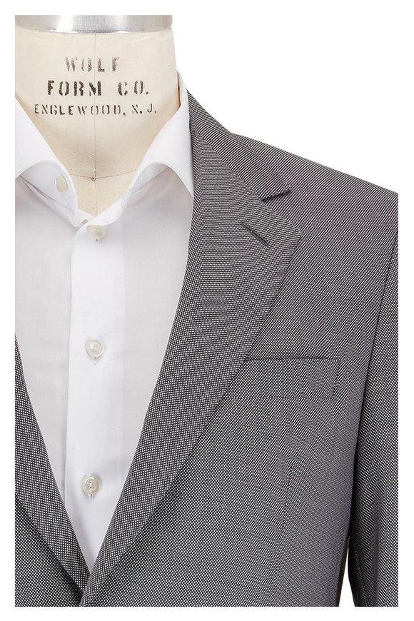 Coppley Charcoal Gray & White Birdseye Wool Suit
