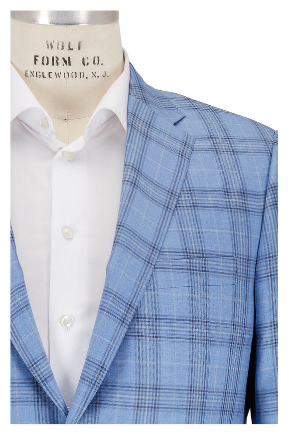 Hickey Freeman Blue Wool & Silk Plaid Sportcoat