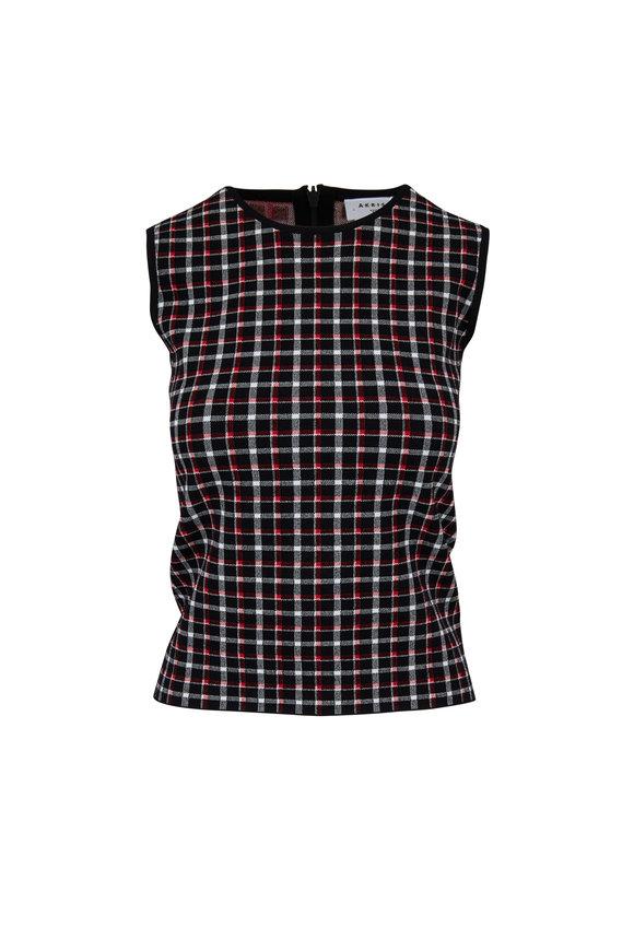 Akris Punto Black & Lipstick Red Glen Check Knit Shell