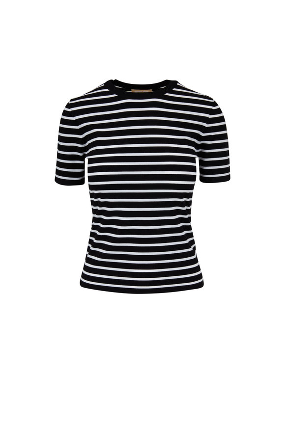 Michael Kors Collection Black & White Striped T-Shirt