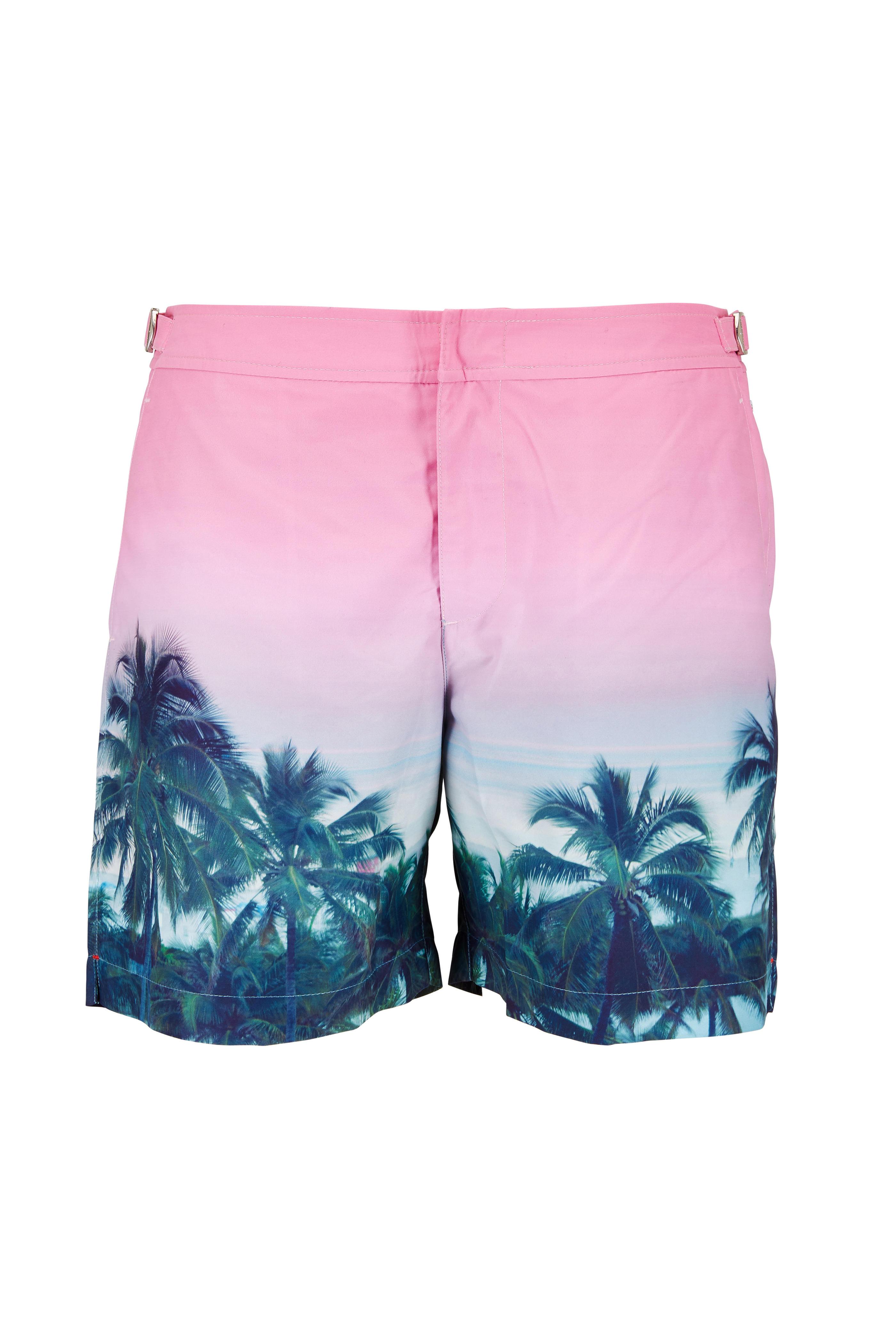 99feae98941 Orlebar Brown - Bulldog Pink Palms Aplenty Swim Trunks | Mitchell Stores