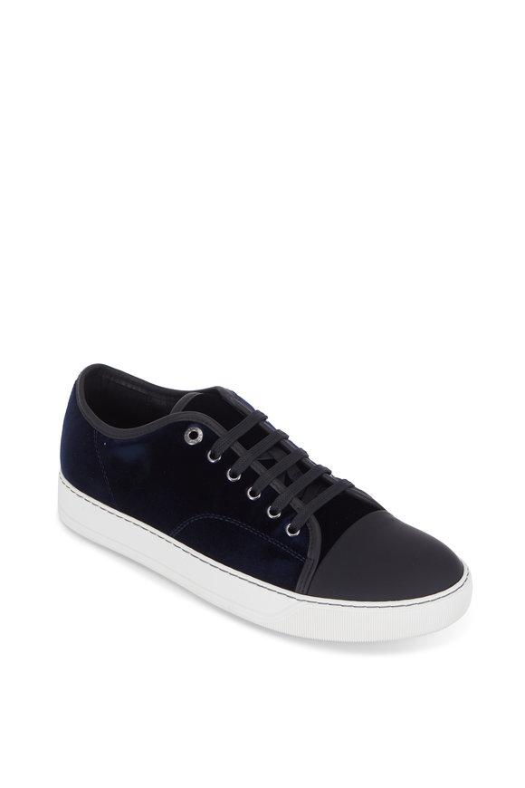 Lanvin Navy Blue Velvet Cap-Toe Sneaker