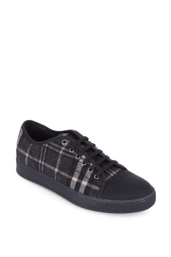 Lanvin Black Tartan Plaid Cap-Toe Sneaker