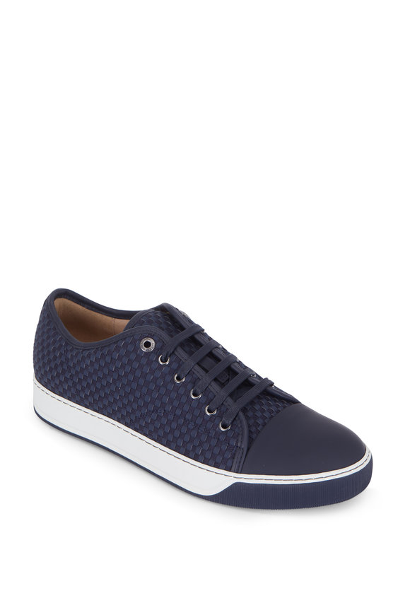 Lanvin Navy Blue Woven Cap-Toe Sneaker