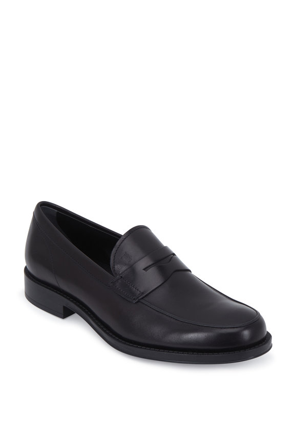 Tod's Gomma Black Leather Classic Penny Loafer