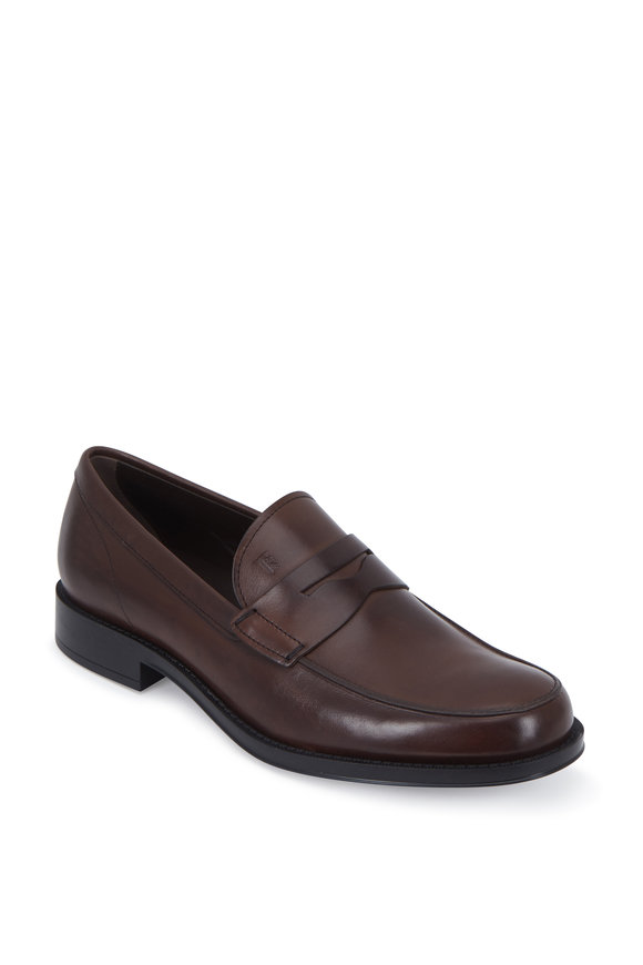 Tod's Gomma Dark Brown Leather Classic Penny Loafer
