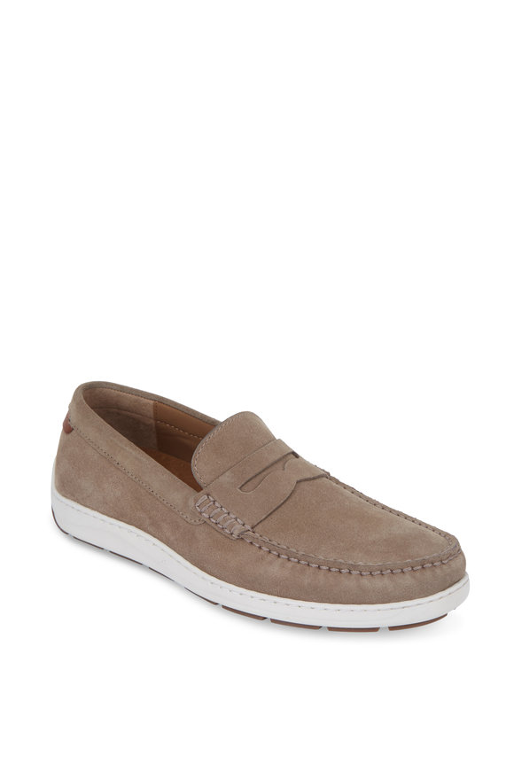 Trask Sheldon Taupe Suede Penny Loafer