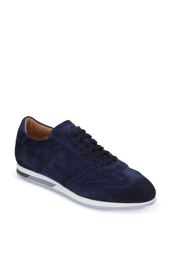 Santoni Indy Navy Blue Suede Sneaker