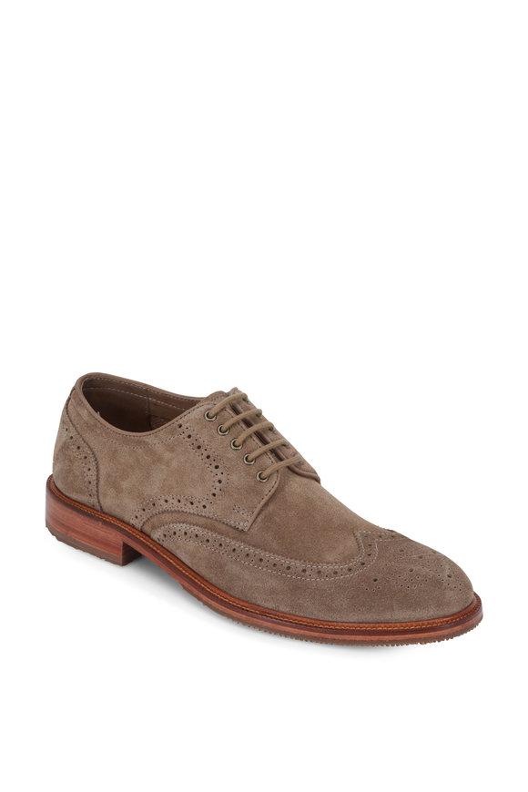 Trask Logan Taupe Suede Wingtip Derby Shoe