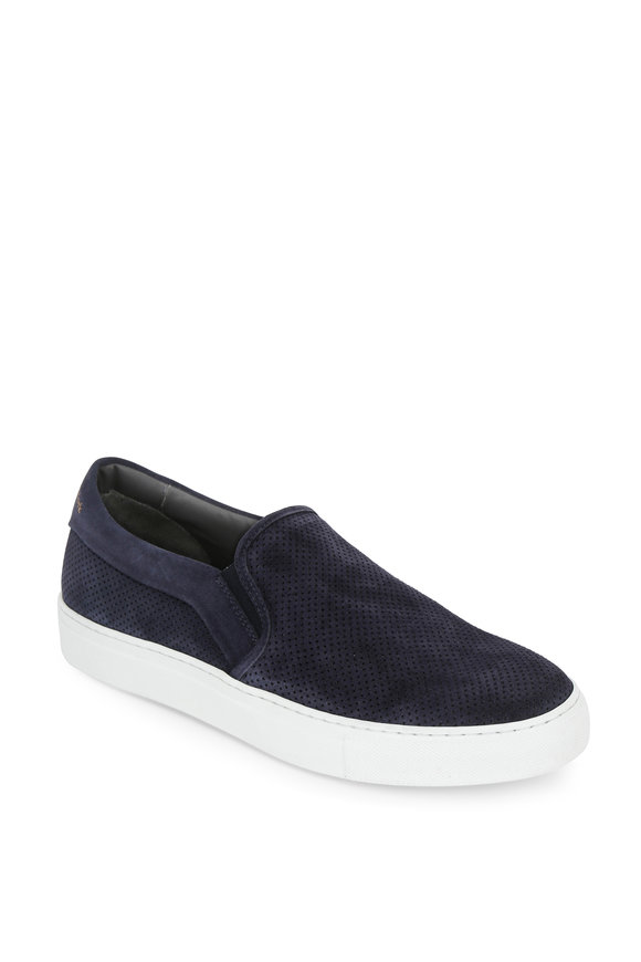 To Boot New York Buelton Navy Blue Perforated Suede Slip-On Sneaker