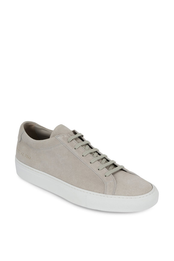 Common Projects Achilles Light Gray Suede Low Sneaker
