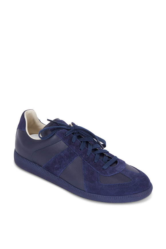 Maison Margiela Replica Navy Blue Leather & Suede Lace-Up Sneaker