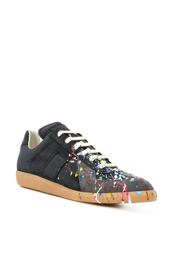 Maison Margiela Black Leather Paint Splatter Sneaker