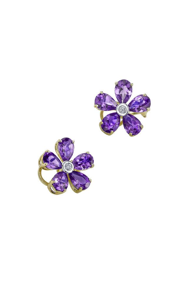 Gold Amethyst Diamond Flower Earrings