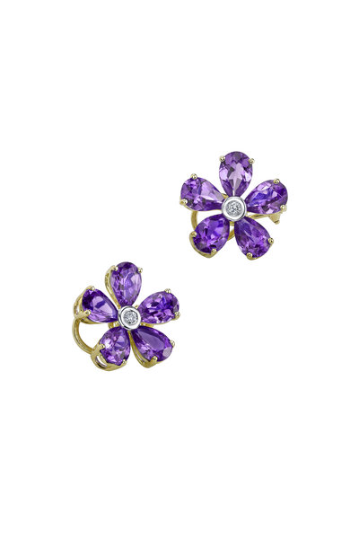 Aaron Henry - Gold Amethyst Diamond Flower Earrings