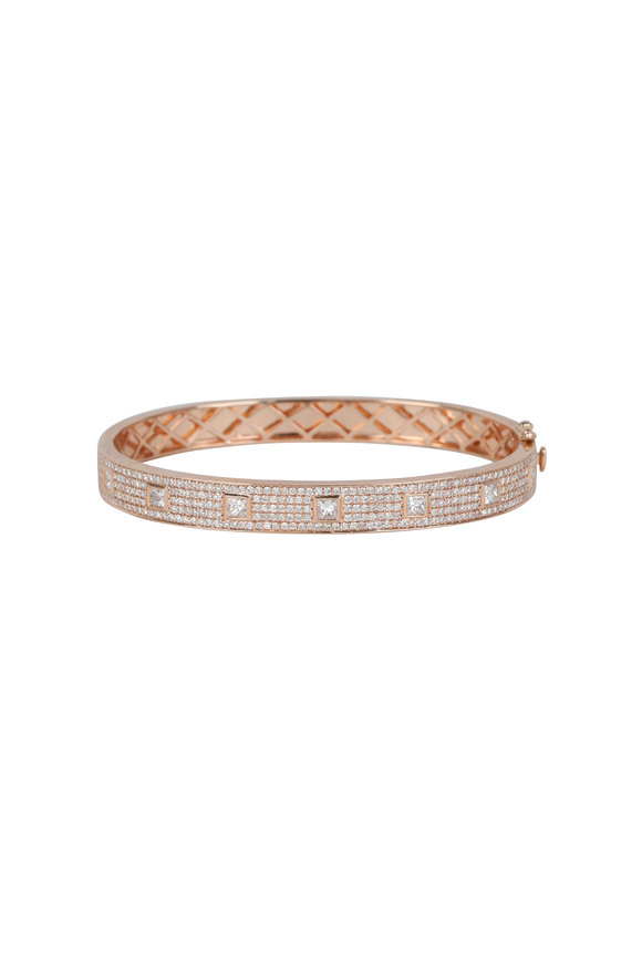 Kai Linz 14K Rose Gold Pavè & Square Diamond Bangle
