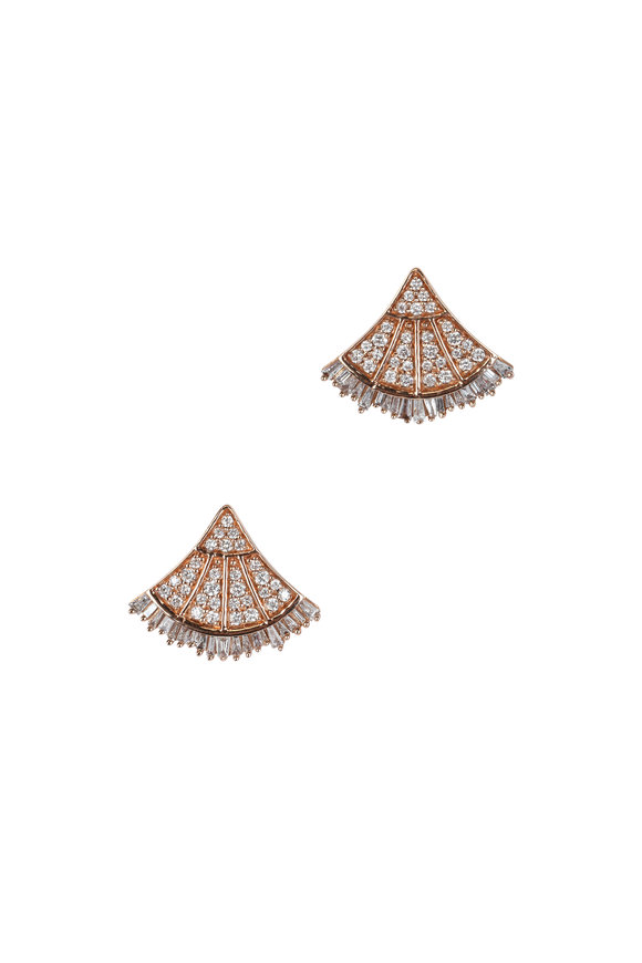 Kai Linz 18K Rose Gold Diamond Fan Earrings