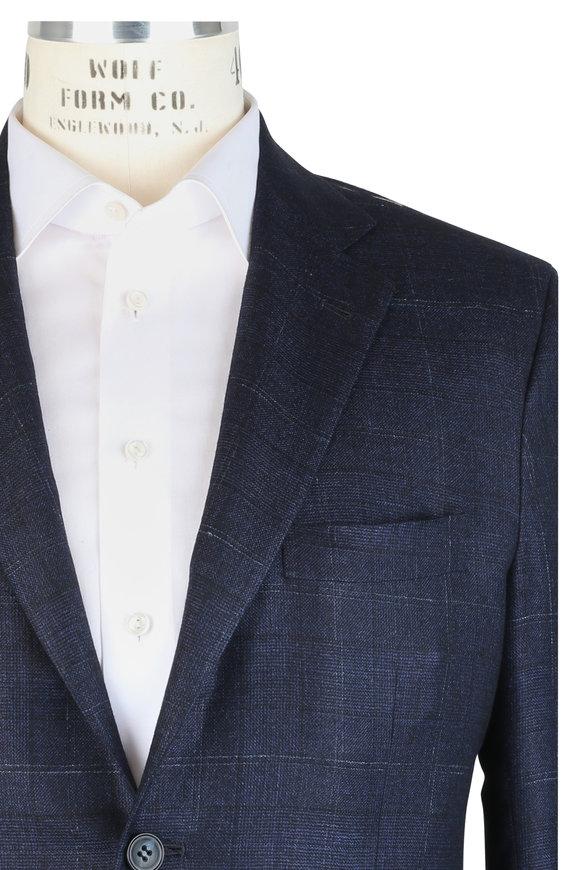 Kiton Blue Plaid Cashmere, Silk & Linen Suit