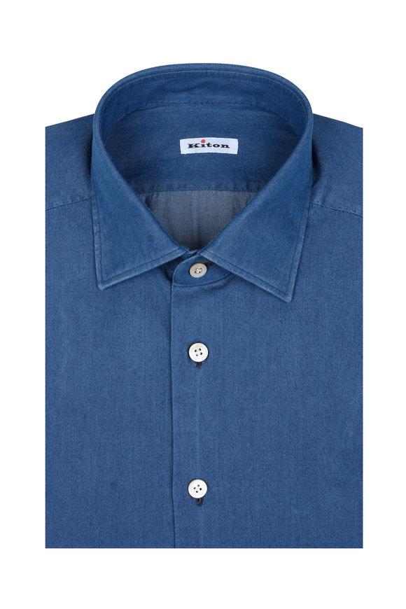 Kiton Solid Denim Dress Shirt