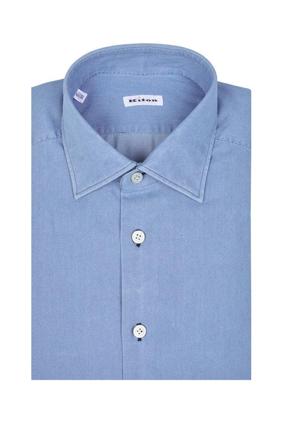 Kiton Light Blue Denim Dress Shirt
