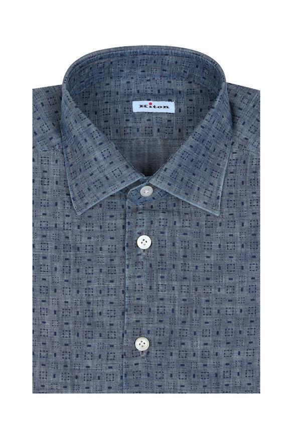 Kiton Blue Geometric Dress Shirt
