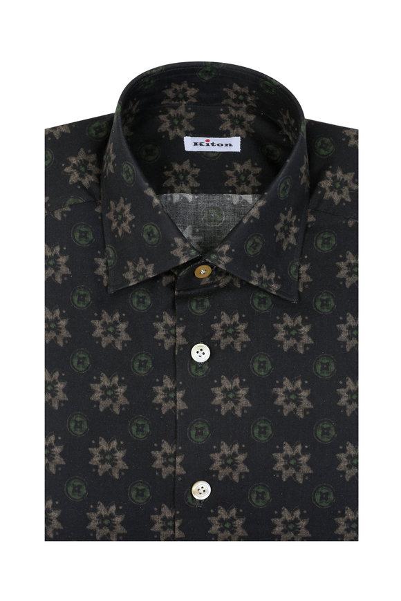 Kiton Green Floral Dress Shirt