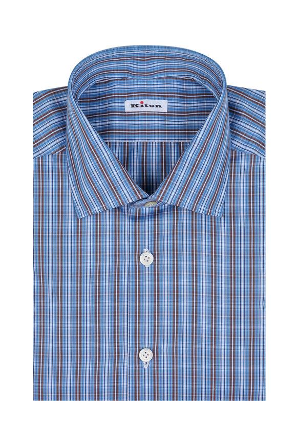 Kiton Blue & Brown Check Dress Shirt