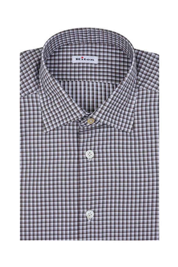 Kiton Brown & White Check Dress Shirt