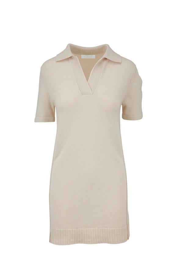 Chloé Buttercream Cashmere Johnny Collar Dress