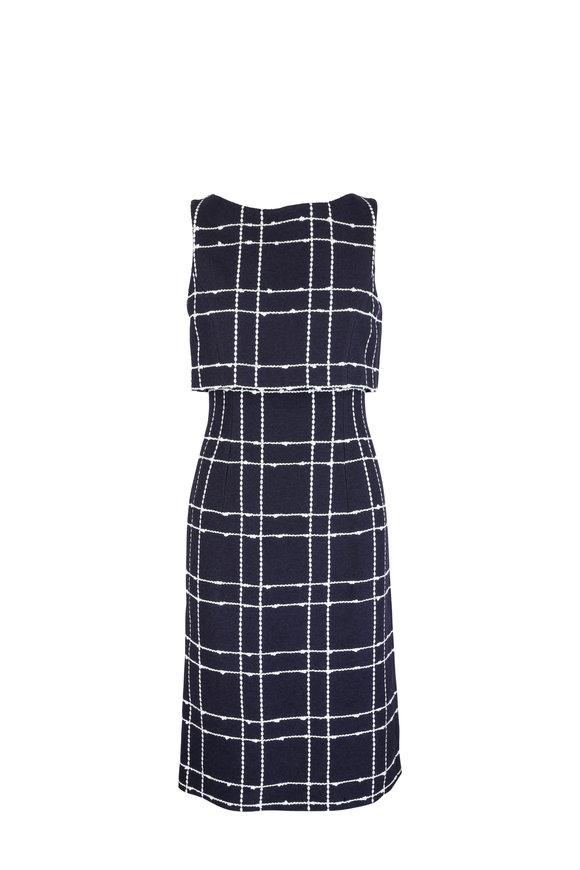 Oscar de la Renta Navy Blue & White Windowpane Overlay Dress