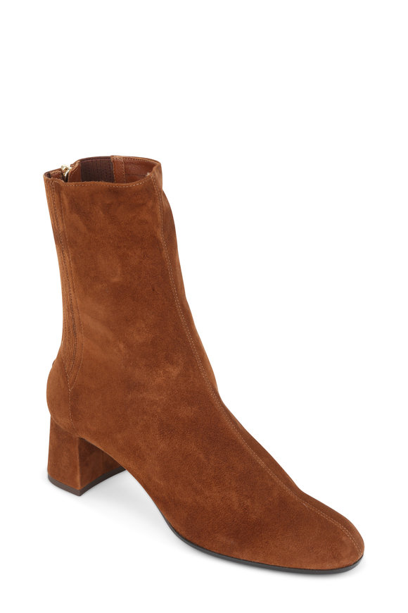 Aquazzura Saint Honore' Cinnamon Suede Bootie, 50mm