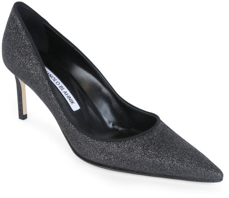 Manolo Blahnik Lisapump Black Glitter Pump, 70mm