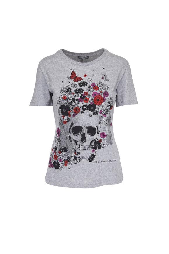 Alexander McQueen Grey Skull & Flower T-Shirt