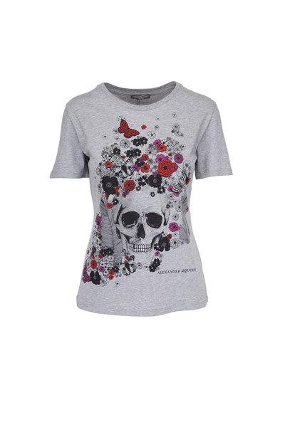 Alexander McQueen - Grey Skull & Flower T-Shirt