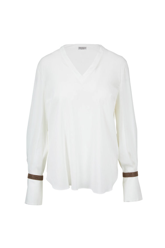 Brunello Cucinelli White Silk Monili Cuff Blouse