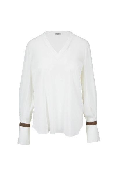Brunello Cucinelli - White Silk Monili Cuff Blouse