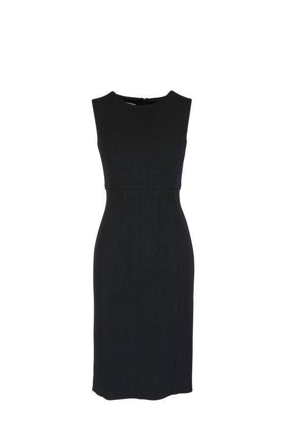 Kiton Black Wool Sheath Dress