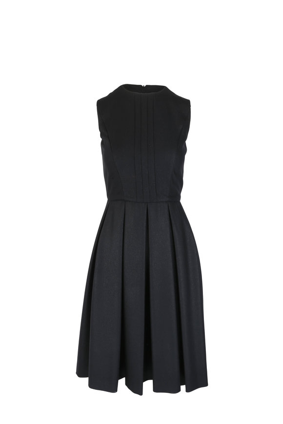 Kiton Black Wool & Cashmere Sparkle Pleat Dress