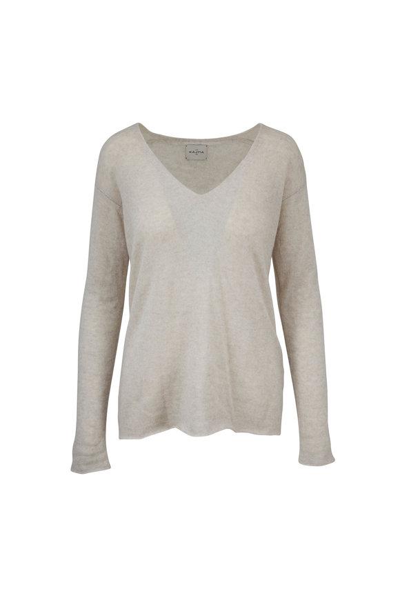 Le Kasha Male Soft Latte Cashmere V-Neck Sweater