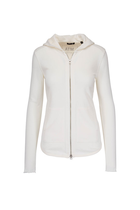 A T M Ivory French Terry Zip Hoodie