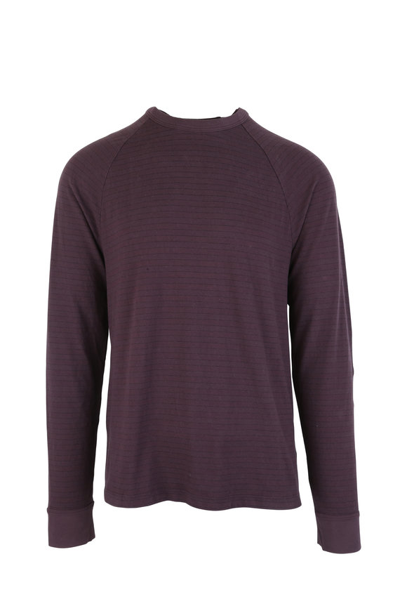 James Perse Fig Striped Raglan Long Sleeve T-Shirt