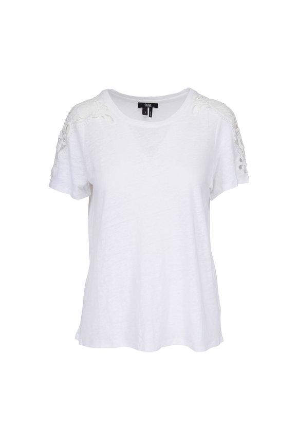 Paige Denim Cassandra White Linen Lace T-Shirt